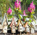 5 Keramik Häuser Stecker für Beet oder Blumentopf beige/bunt