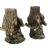 2 Keramik Baumhäuser Teelichthalter