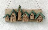 Keramik Schlüsselbrett Häuser türkis