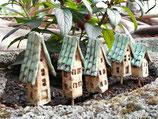 5 Keramik Häuser Stecker für Beet oder Blumentopf beige/türkis
