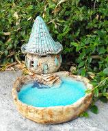 Keramik Vogeltränke mit Windlicht Wichtelhaus