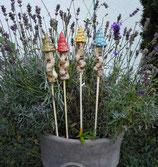 4 Keramik Türme Stecker für Beet oder Blumentopf