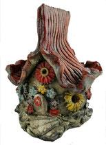 Keramik Windlicht Wichtelhaus Bunte Blumen