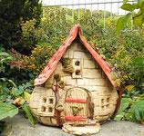Front kleines Bruchsteinhaus Keramik Windlicht