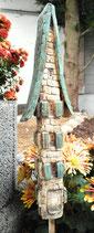 Keramik Haus Beetstecker Beetdeko Gartendeko türkis/beige