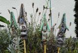 4 Keramik Häuser Stecker für Beet oder Blumentopf