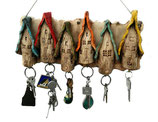 Keramik Schlüsselbrett Häuser beige/bunt