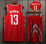 Комплект подростковой баскетбольной формы NBA Хьюстон Рокетс №13 Джеймс Харден красно-серый гостевой