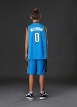 Комплект детской баскетбольной формы NBA Оклахома Сити Тандер №0 Рассел Уэстбрук голубой