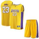 Лос-Анджелес Лейкерс №23 Леброн Джеймс желтый комплект баскетбольной формы NBA