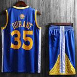 Комплект подростковой баскетбольной формы NBA Голден Стэйт Уорриорс №35 Кевин Дюрант синий гостевой