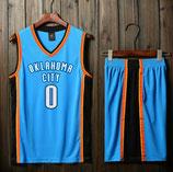 Комплект подростковой баскетбольной формы NBA Оклахома Сити Тандер №0 Рассел Уэстбрук гостевой голубой