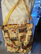 Tasche mit Küchenmotiven in gelb-Tönen