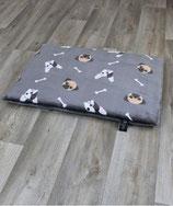 Heimtierdecke mit Hundemotiv Bulldoge/Mops grau
