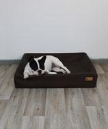 Hundebett Lucy Kunstleder Grössen M 70x110x15xm schokola