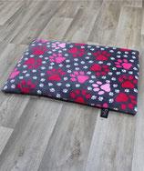 Heimtierdecke mit Pfotenmotiv und Füllung rosa 65x95cm
