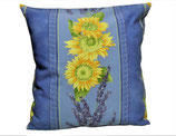 Kissenhülle Provence blau mit Sonnenblumen