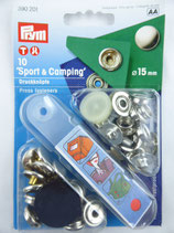 BOUTONS PRESSION 'SPORT & CAMPING' 15 MM COLORIS NICKEL PRYM 390 201