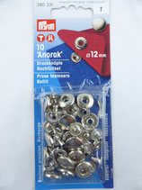 RECHARGE BOUTON 'ANORAK' 12 MM PRESSION COLORIS NICKEL PRYM 390 381