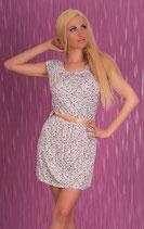 Geblümtes Sommer Kleid mit Gürtel Weiss