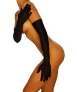schwarze ultralange Satin-Handschuhe 9053