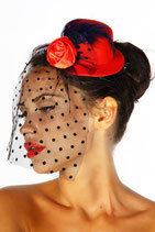 Mini-Hut / Fascinator 12096 rot
