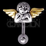 Nabelpiercing Engel aus Stahl und Silber