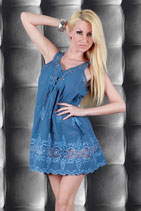 Empire Sommer Kleid Stickerei Blau