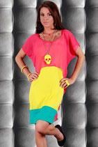 Lässiges 2lagiges VoKuHila Kleid Pink/Gelb