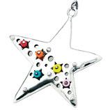 Kettenanhänger 925 Sterling Silber - Stern mit Perlen