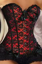 Spitzen-Corsage 12120 schwarz/rot