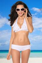 Blümchen Bikini, gepaddet, weiß