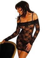 Negligé Mini-Kleid schwarz