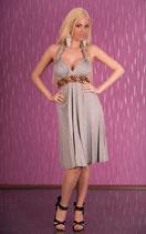 Neckholder Sommerkleid mit Perlen grau