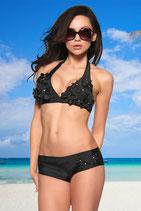 Blümchen Bikini, gepaddet, schwarz