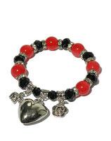 Armband, schwarz-rot von Madame Butterfly