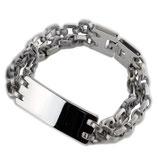 Doppelreihiges Edelstahl-Armband mit glänzender Platte