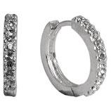 Ohrcreole 1-reihig mit Swarovski Steinen besetzt aus 925 Sterling Silber