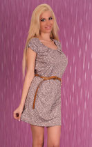 Geblümtes Sommer Kleid mit Gürtel Braun