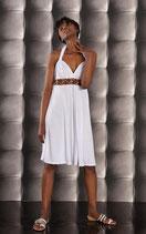 Neckholder Sommerkleid mit Perlen weiß