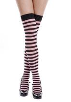 Ringel-Overknees 6005 schwarz/pink von Leg Avenue