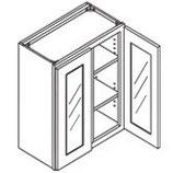 30″ TALL WALL CABINET - 2 Glass Doors