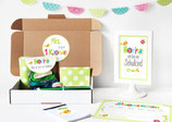 Einschulungsbox | bunte Buchstaben in Grün