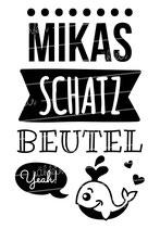 "Turnbeutel ""Mein Schatzbeutel"" Wal & Namen"
