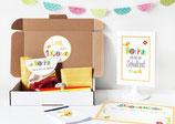 Einschulungsbox | bunte Buchstaben  in Gelb
