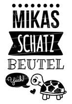 """Turnbeutel """"Mein Schatzbeutel"""" Schildkröte & Namen"""