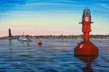 Rote Fahrwassertonne 6   &  Glockentonne