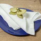 Leinenservietten mit Hohlsaum  - wollweis und leinenfarben