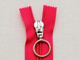 Reissverschluss nicht teilbar Plastikspirale pink mit Ringzipper 23 cm