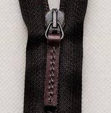 Reißverschluß nicht teilbar Plastikspirale mit Lederzipper 16 cm dunkelbraun